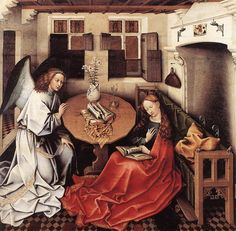 """Painting of the Day!  Robert Campin (1375-1444) """"Annunciation"""" Tempera on oak 1420  To see more works by this artist please visit us at: http://www.artrenewal.org/pages/artwork.php?artworkid=22121&size=large"""
