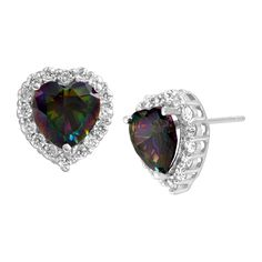 5 1/5 ct Natural Green Mystic Topaz & White Topaz Heart Stud Earrings in Sterling Silver from Jewelry.com