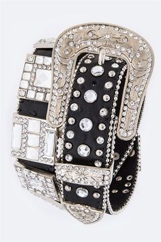 Black Leather Rhinestone Bling Belt