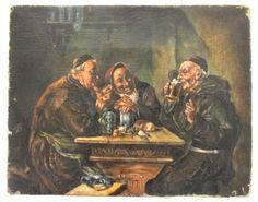 Gemälde Mönche beim Biertrinken