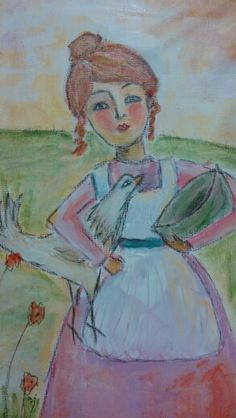Lady with chicken.  Mixed media on canvas by Lisa Ryan.