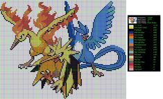 Pokemon Perler Bead Pattern: Bird Trio by LadyJirachi.deviantart.com on @deviantART