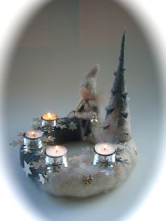 Adventskranz.Gefilzt.Elfe,Fee,filz.Waldorf. from Filz-art by DaWanda.com