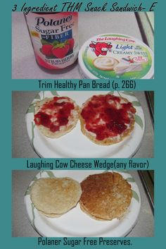 3 Ingredient Trim Healthy Mama Snack Sandwich (E): pan bread, Polaner, and Laughing Cow cheese wedge...yum!