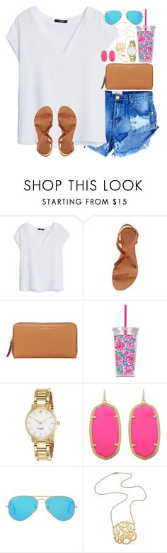 """""""Lost in my mind, oh I get lost in my mind"""" by lauren-hailey ❤ liked on Polyvore featuring MANGO, Joie, Tory Burch, Lilly Pulitzer, Kate Spade, Kendra Scott, Ray-Ban and Jennifer Zeuner"""