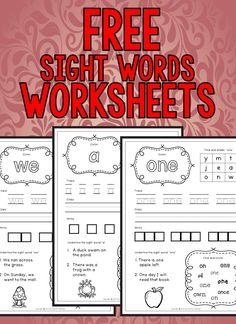 Free Sight Word Worksheets for Kinder Kids Pre Primer Sight Words, Sight Words List, Sight Word Practice, Preschool Sight Words, Sight Word Activities, Kindergarten Sight Words Printable, Handwriting Activities, Word Games, Kindergarten Learning