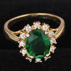 классические женские зеленые австрийских кристаллов кольца (7 #, 8 #) (1 шт) – AUD $ 5.47