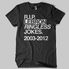 """Lebron James RIP Lebron """"Ringless"""" Jokes T-shirt"""