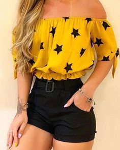 May 2020 - Stars Print Off Shoulder Short Sleeve Blouse Cute Comfy Outfits, Girly Outfits, Cute Summer Outfits, Classy Outfits, Pretty Outfits, Stylish Outfits, Teenage Outfits, Teen Fashion Outfits, Outfits For Teens