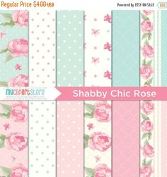 40% OFF  Digital Paper  Shabby Chic Rose   Instant Download