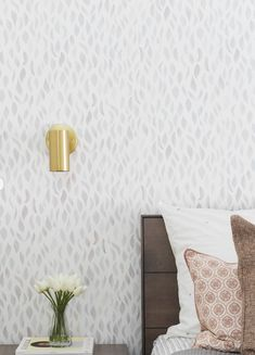 Our Petals wallpaper in Blue Taupe by Design Studio for Rue Magazine. Bedroom Wallpaper Accent Wall, Chic Wallpaper, Home Wallpaper, Wallpaper Patterns, Guest Room Decor, Bedroom Decor, Master Bedroom, Farmhouse Wallpaper, Herringbone Wallpaper
