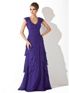 A-Line/Princess V-neck Sweep Train Chiffon Evening Dress With Cascading Ruffles (017020663) - JJsHouse
