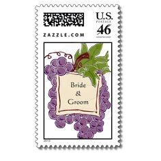Wine Themed Wedding Postage Stamp