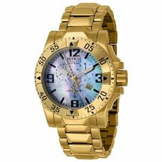 Invicta Men's 6257 Reserve Collection Chronograph 18k Gold-Plated Stainless Steel Watch Invicta. $338.00. Water-resistant to 660 feet (200 M). Precise Swiss-quartz movement. Durable flame-fusion crystal; polished 18k gold-plated stainless steel case and bracelet. Blue mother of pearl dial with luminous gold-tone hands; black hour markers and arabic numerals; screw-down crown; gold-tone second hand. Chronograph functions with 60 second, 30 minute and 1/10th of a second sub...