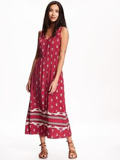Printed Button Front Maxi for Women