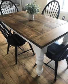 This beautiful, custom Farmhouse Table is made directly from our shop! The one pictured is x with breadboard ends, stained in dark walnut! Our tables are one solid piece! Painted Kitchen Tables, Farmhouse Dining Room Table, Farmhouse Kitchen Tables, Dinning Room Tables, Rustic Table, Refinishing Kitchen Tables, Wood Tables, Farm Tables, White Farmhouse Table