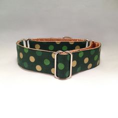 1.5 inch or 2 inch Martingale Collar, Green Gold Yellow Polka Dots Holiday Martingale by fabcollarhounds