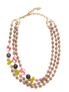 Tripe-strand dyed mauve jad bead necklace with faceted hot pink glass cabochons, dyed green jade and dark brown chalcedony.