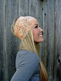 Wide Stretch Lace Headband in Peach Soft Orange by HillNTrees, $20.00