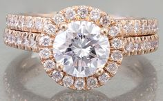 EGL USA H-VS2 14k Rose Gold Round Cut Diamond Engagement Ring And Bands 1.65ctw by asparklingworld on Etsy