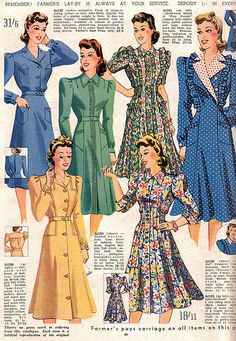 Fantastic early 40s day/house dresses. #vintage #fashion #1940s #catalog