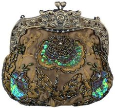 ❥ vintage beaded rose evening clutch purse with chain