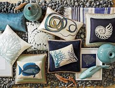 CHIC COASTAL LIVING: Beach Chic - loving the fish cushions!