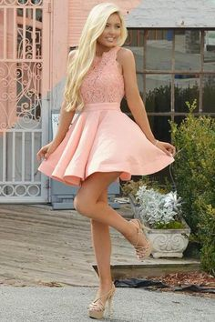 A-Line Crew Short Pink Satin Homecoming Dress with Lace Bodice simple pink stian short homecoming dresses for teens, semi formal lace dress for girls, vintage graduation party dress,short prom party gowns Pink Party Dresses, Lace Homecoming Dresses, Hoco Dresses, Sexy Dresses, Cute Dresses, Evening Dresses, Prom Outfits, Summer Outfits, Party Gowns