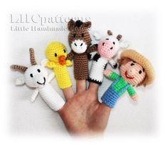 Old MacDonald Finger Puppets Crochet Pattern Farm Animals Felt Finger Puppets, Hand Puppets, Crochet Gratis, Crochet Dolls, Finger Puppet Patterns, Crochet Horse, Softie Pattern, Finger Knitting, Stuffed Animal Patterns