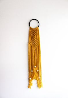 Sunflower Yellow Macrame Hoop Wall Hanging with Beads by Natcrame