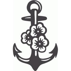 Silhouette Design Store - View Design #63623: anchor with flowers