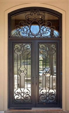 Exterior Rod Iron Doors - You can find many different types of Wood Exterior Doors a buyer could choose from. Iron Front Door, Exterior Front Doors, Door Entryway, Entrance Doors, Entrance Ideas, Double Entry Doors, Front Entry, Front Porch, Wrought Iron Doors