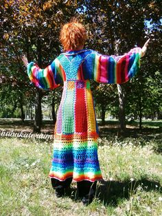 https://flic.kr/p/bEsTx9 | Knitted Crocheted Granny Patchwork Multicolor Multimotif Striped Hippie Crochet Coat | Babukatorium's next unique long cardigan is made of recycled mixed wool and quality acrylic yarns in all the shades of the rainbow, this time with   -A-line multicolor crochet base with granny squares in the focus point (under breast),   -important pointy collar,    -rainbow striped very wide knitted kimono sleeves decorated (from edge to edge, touching the back in the middle)…