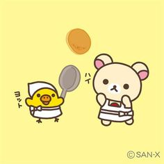 Korilakkuma & Kiiroitori cooking pancake