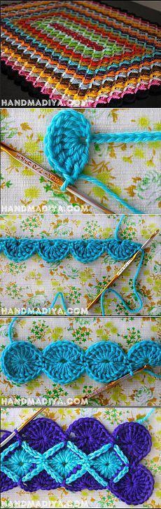 vintage crochet ripple stitch pattern ♥ Feather and Fan Diagram Chart Gilet Crochet, Crochet Motifs, Crochet Stitches Patterns, Crochet Squares, Crochet Designs, Stitch Patterns, Knitting Patterns, Crochet Ripple, Love Crochet