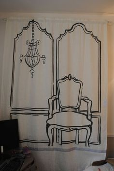 Turned out really well as a backdrop for stage and photos at a church womens event - used an overhead projector and traced pattern directly on a painter's drop cloth, sewed a rod pocket and hung it on PVC pipe frame.