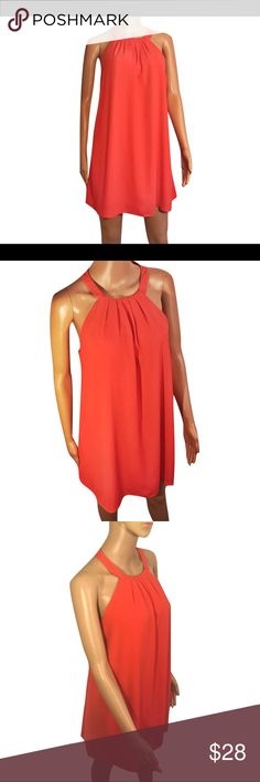 """Bright Coral One Clothing Tent Dress This bright coral tent dress from One Clothing features a high neckline with a few pleats below it & straps that meet & button in the back of the dress at the nape of the neck, with 2 buttons- one is missing. Below the high neckline, the dress flows with no waistline or darts. Very pretty semi-sheer top layer. Dress is fully lined. 100% polyester.  Measurements taken with dress laying flat. Length: 32"""", Bust: 20"""", Hips Waist: 22"""", Hips: 24"""". Dress is…"""