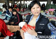 A Chinese police woman breastfed eight babies who were either orphaned or who's mothers were unable to provide breast milk following the trauma of a severe earthquake that hit the Sichuan province in May 2008.