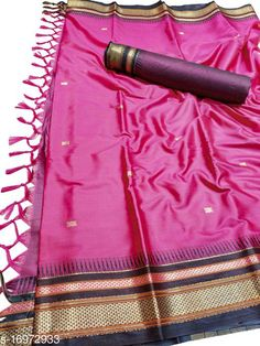 Sarees Hirkal Traditional Paithani Silk Sarees With Contrast Blouse Piece (Creamson Pink & Black)  Saree Fabric: Silk Blend Blouse: Separate Blouse Piece Blouse Fabric: Silk Blend Pattern: Woven Design Blouse Pattern: Woven Design Multipack: Single Sizes:  Free Size (Saree Length Size: 5.3 m, Blouse Length Size: 0.8 m)  Country of Origin: India Sizes Available: Free Size   Catalog Rating: ★4 (502)  Catalog Name: Aakarsha Fashionable Sarees CatalogID_2303917 C74-SC1004 Code: 146-16972933-7761