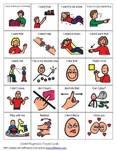 "Need to teach: Pragmatic Language Board These are important phrases for your child to learn, and can minimize his frustration as he tries to communicate his needs. If he is non-verbal, teach him how to point to the card or image on a board, especially the ""I need a break"" card! Pinned by www.preschoolspeechie.com"