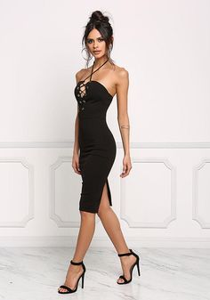 Black Plunge Lace Up Halter Bodycon Dress - Going Out - Dresses