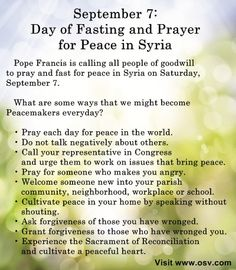 Join the pope in prayer! Day of Fasting and Prayer for Peace in Syria #catholic #prayer #syria