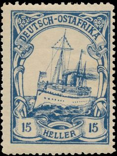 German East Africa 1905-1919. Kaiseryacht SMY Hohenzollern. 15 Heller - Karrisimbi provisional – 30 x 40 mm - genuine