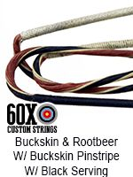 buckskin rootbeer with buckskin pinstripe with black serving custom bow string