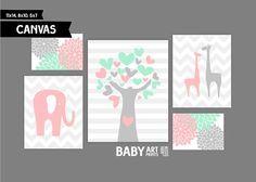 Mint Blush pink and Grey Nursery canvas art by babyartprints