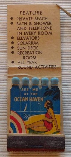 Girlie Feature Matchbook, Ocean Haven Hotel, Miami Beach, Fl., Beach Scene, Full | Collectibles, Paper, Matchbooks | eBay!