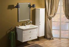 VIOLETA umyvadlová skříňka 83x52x46cm, bílá pololesk : SAPHO E-shop Vanity, Mirror, Retro, Bathroom Ideas, Furniture, Shopping, Home Decor, Dressing Tables, Powder Room