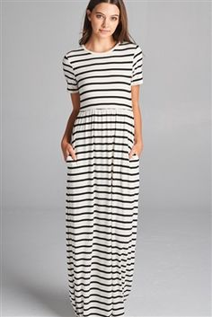 Black and white striped maxi with sleeves for an adorable spring outfit or summer outfit. Pair with your favorite denim jacket or vest for a transitional outfit.