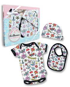 Six Bunnies Baby CUTE FLASH GiftSet Strampler.Tattoo,Biker,Custom Clothing Style