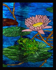 Stained Glass Heirlooms: Lotus Flower Lily Pads and Frog